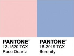 Cores Pantone Rose Quartz e Serenity