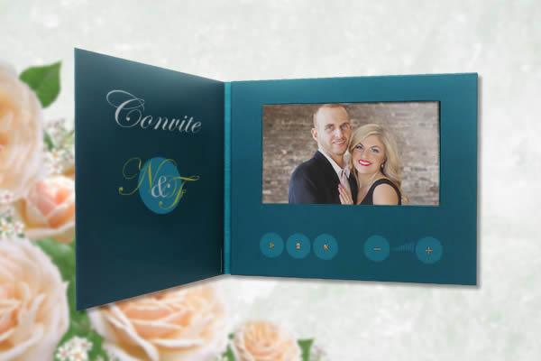 Convite de casamento com tela de LED
