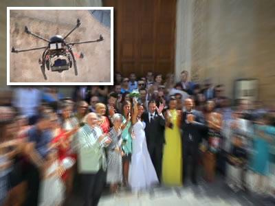 Cena de casamento feita com drone (no detalhe)