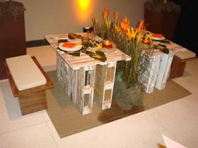 mesa de casamento natural com pallet