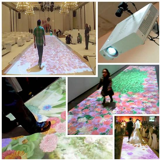 Exemplos de pista de dança e piso interativo